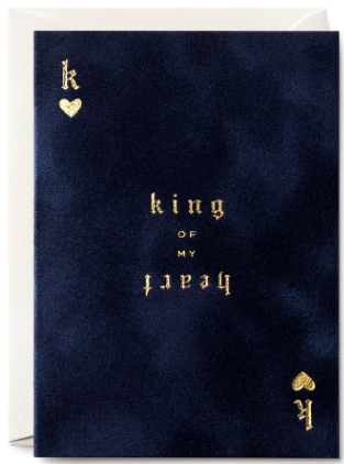 King of My Heart Velvet Greeting Card