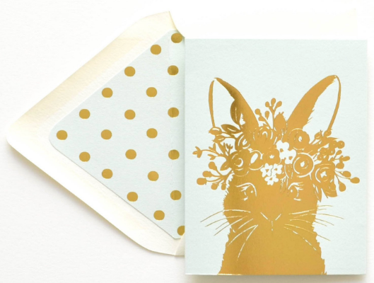 Mint Rabbit Greeting Card
