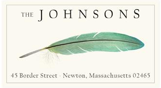Custom Address Stickers - Turquoise Feather