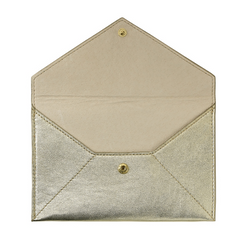 White Gold Metallic Goatskin Leather Pouch