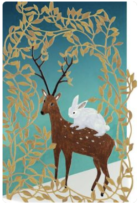 Deer and Rabbit Greeting Card