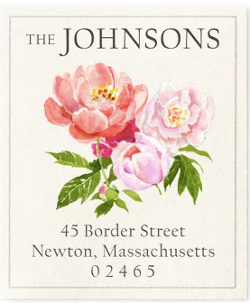 Custom Address Stickers - Coral Peonies
