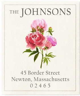 Custom Address Stickers - Peony Blossoms