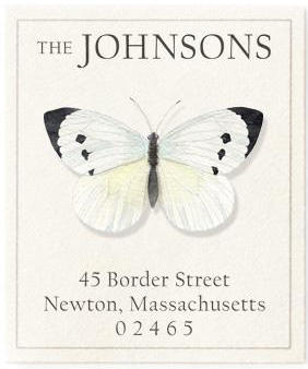 Custom Address Stickers - White Butterfly
