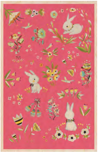 Bunnies Garden Wooden Postcard