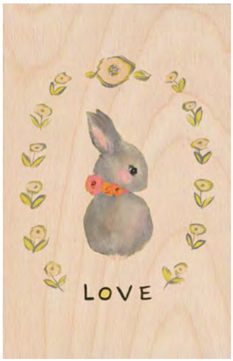 Bunny Love Wooden Postcard