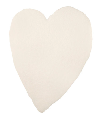Large Full Deckled Handmade Paper Heart - Cream or Blush