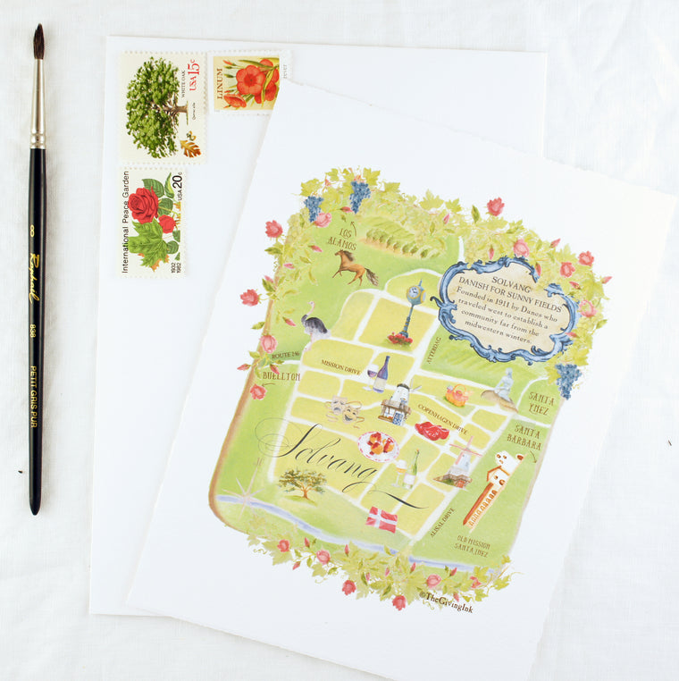 Solvang Map Keepsake Card