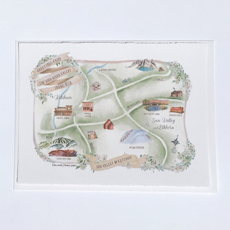 Sun Valley Map Keepsake Card
