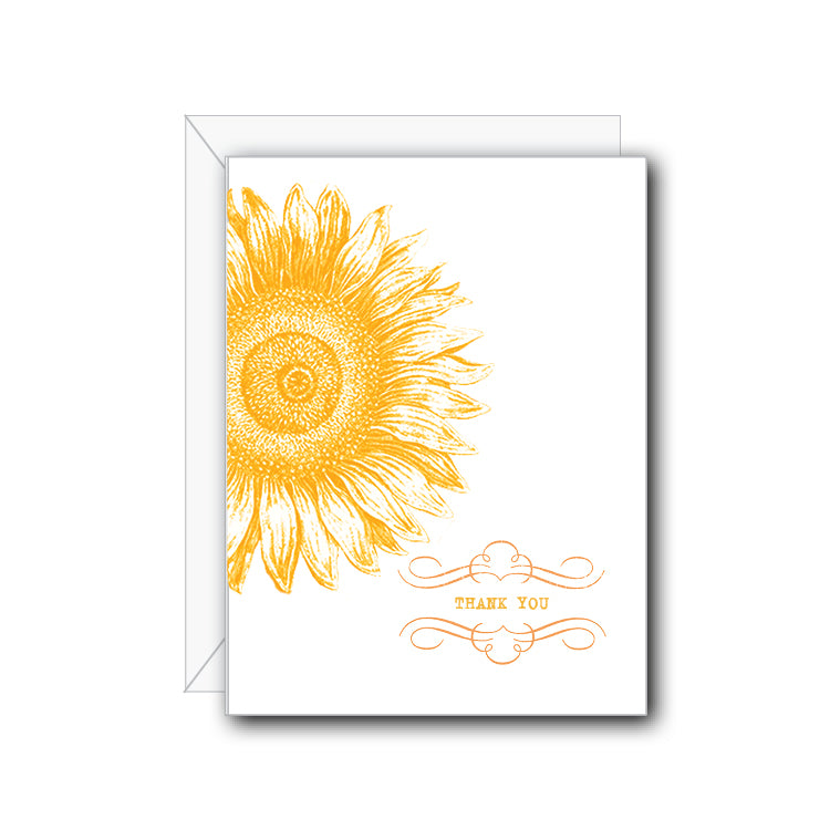 Sunflower Thank You Greeting Card - NOW 40% OFF