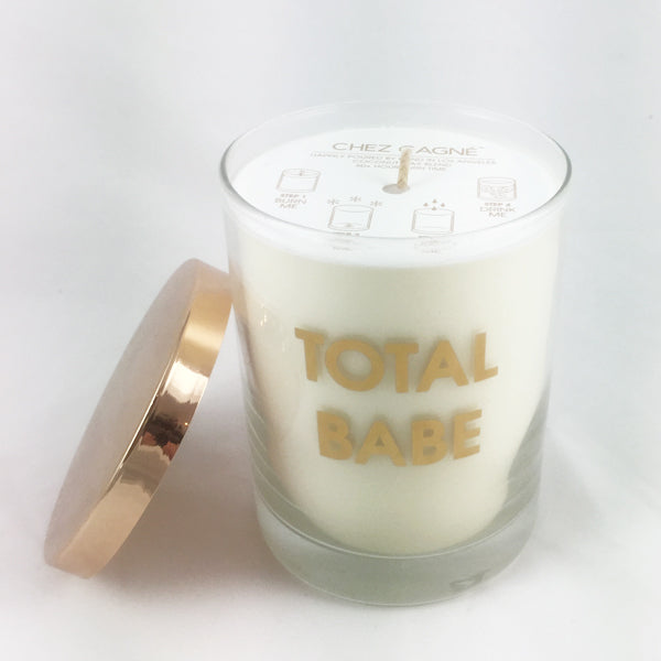 Total Babe Candle-Gold Foil Rocks Glass
