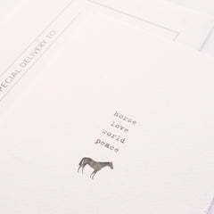 Simple Type Horse Peace World Love Greeting Card