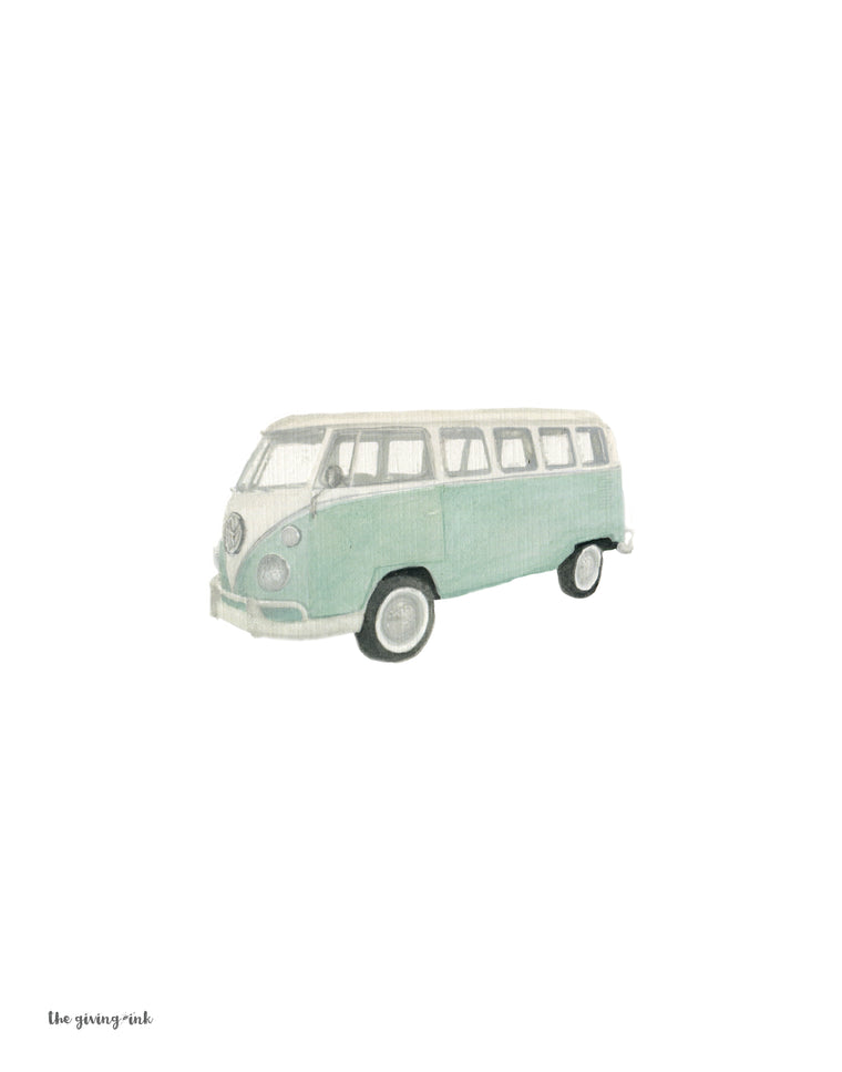 Vintage VW Bus Camper Van Watercolor Downloadable Print