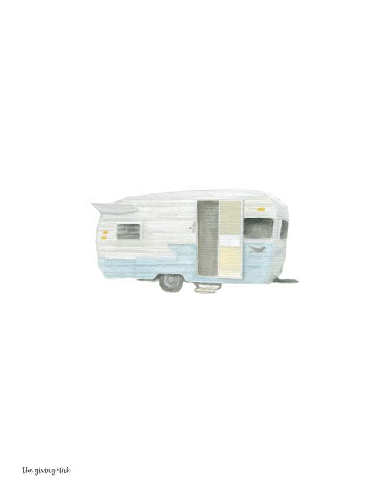Vintage Trailer Watercolor Downloadable Print