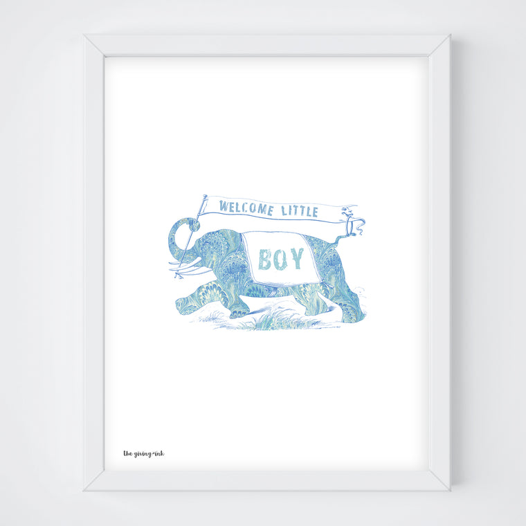 Welcome Baby Boy Elephant Print