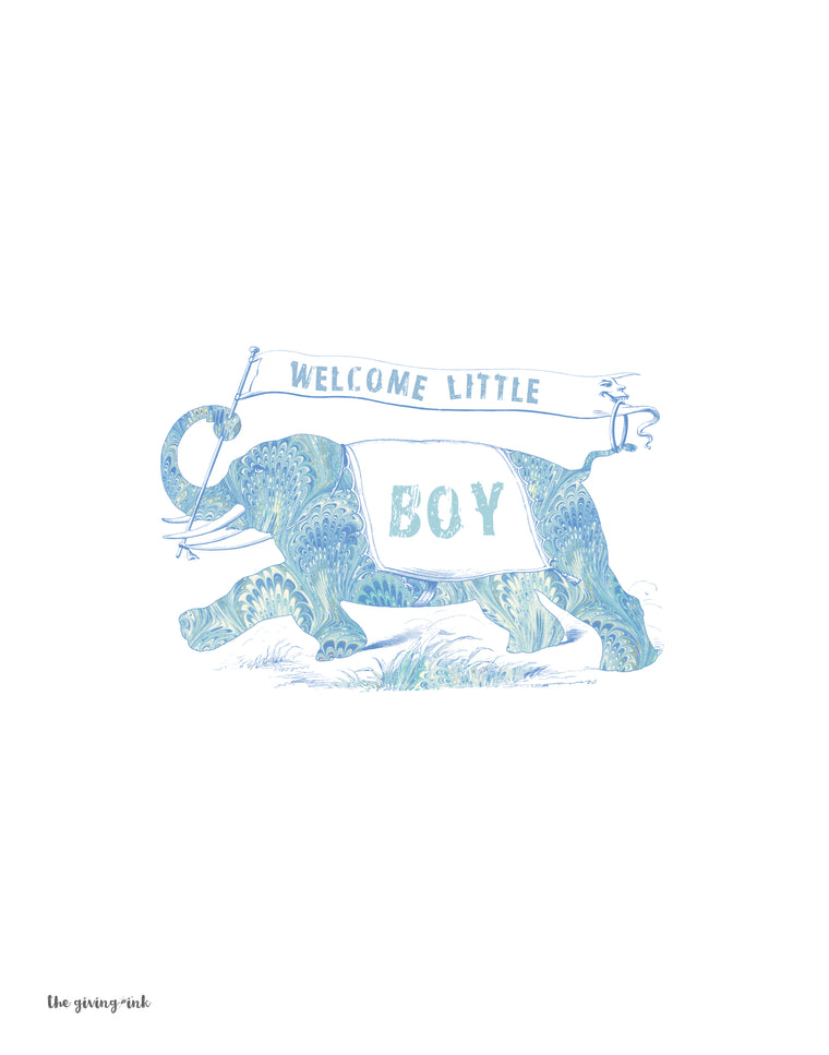 Welcome Baby Boy Elephant Downloadable Print