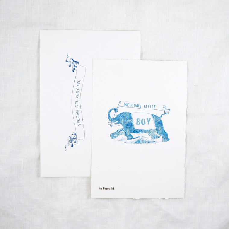 Silhouette Welcome Baby Boy Greeting Card