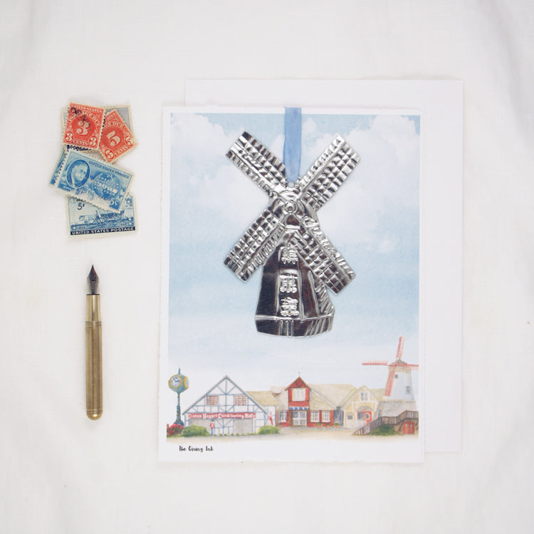 Solvang Watercolor with Windmill Ornament