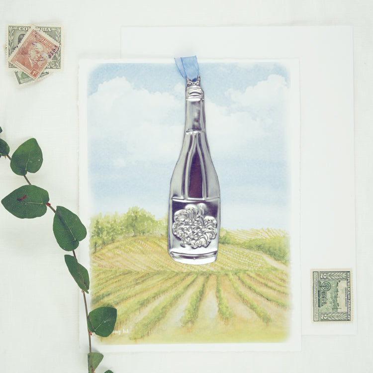 Vineyard Watercolor with Wine Bottle Ornament Keepsake Card