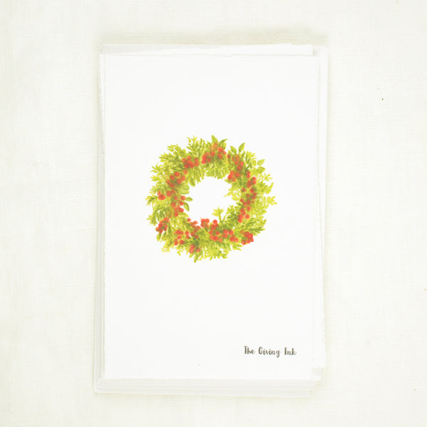 Holiday Wreath Greeting Card and Notecards Sets