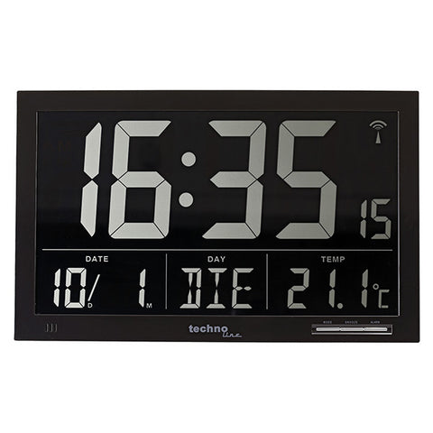 Extra Large Black Digital Weather Clock WS8007