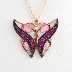 925 Sterling Silver Rose Gold Plated Butterfly Necklace