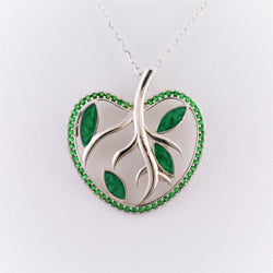 925 Sterling Silver Rhodium Plated Tree of Life Apple Necklace