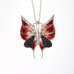 925 Sterling Silver Rhodium Plated Butterfly Necklace
