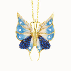 925 Sterling Silver Yellow Gold Plated Butterfly Necklace