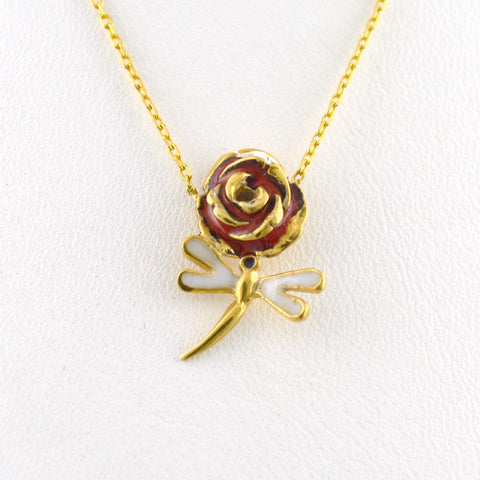 925 Sterling Silver Yellow Gold Plated Dragonfly Rose Necklace