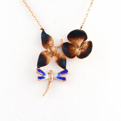 925 Sterling Silver Rose Gold Plated Dragonfly Flower Necklace