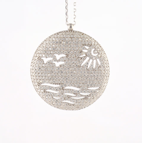 925 Sterling Silver Rhodium Plated Ocean Wave Sun and Birds Necklace