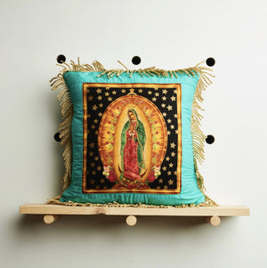 Mexican Virgin Mary Cushion Cover by Desertland Wares, Hi Cacti, Brighton