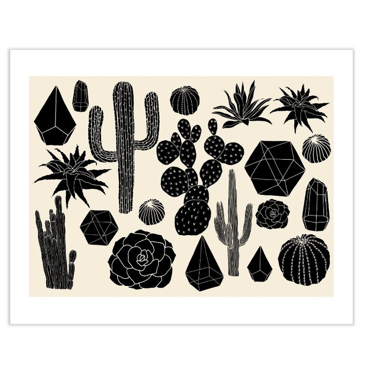 Black Cactus Art Print by Hello Marine