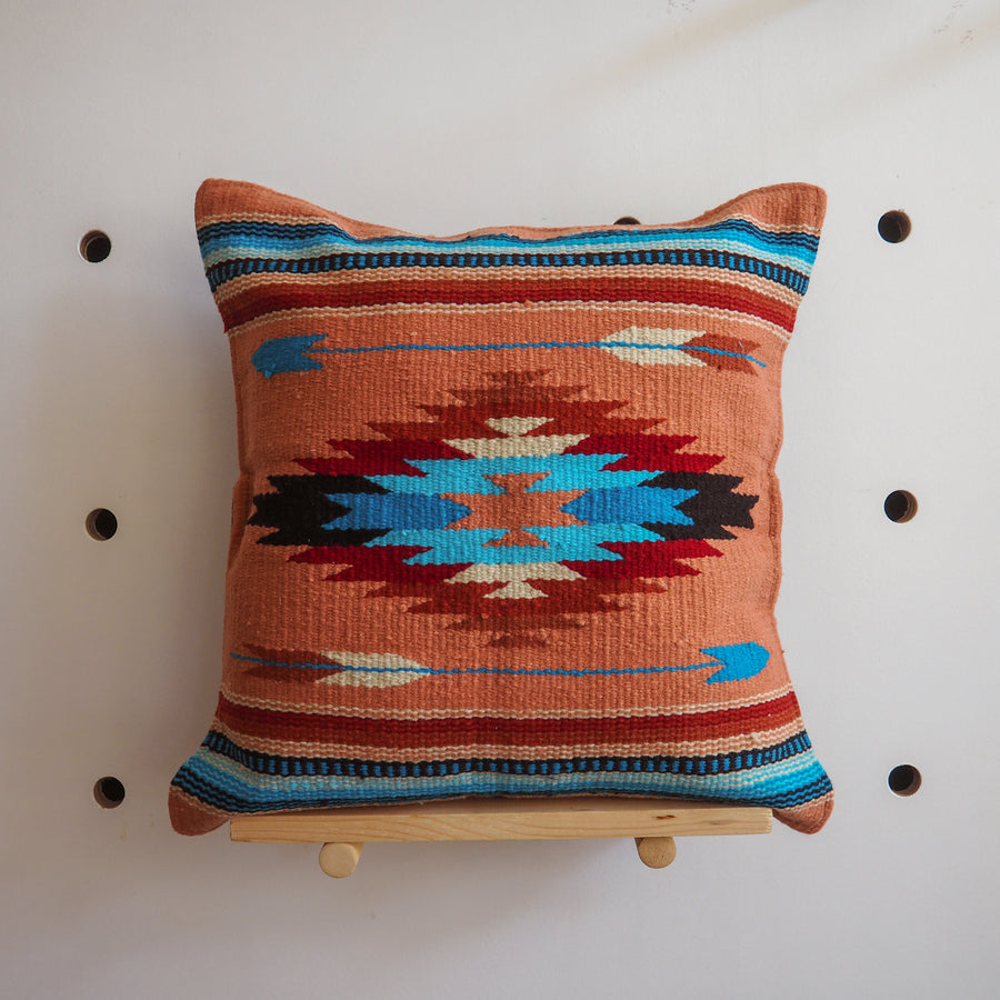 Handwoven Cotton Azteca Pillow Cover - orange