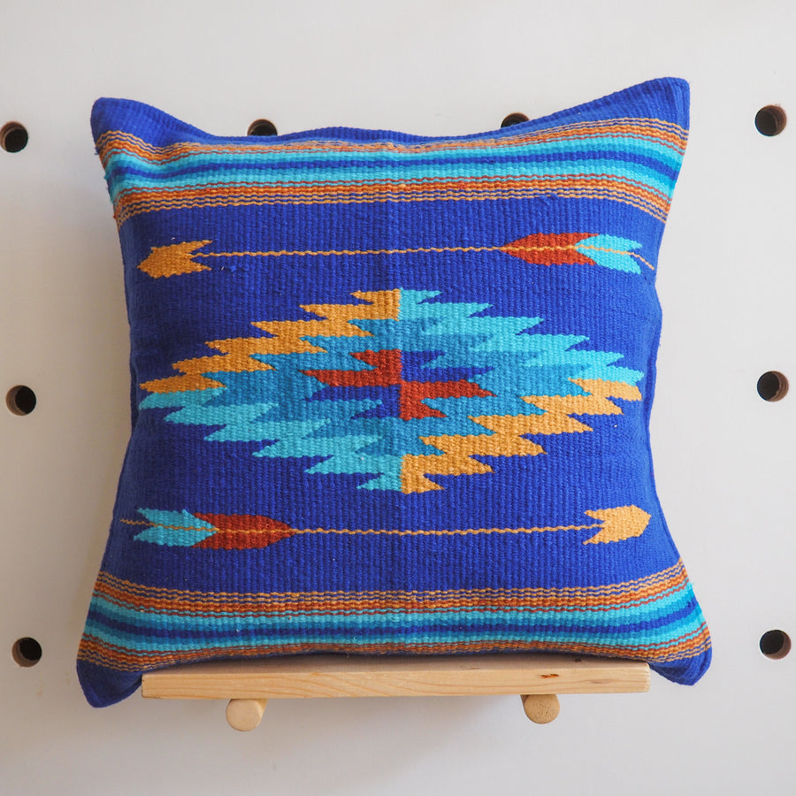 Handwoven Cotton Azteca Pillow Cover - blue