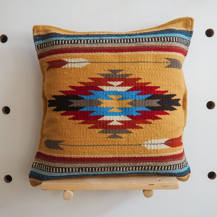 Handwoven Cotton Azteca Pillow Cover - yellow