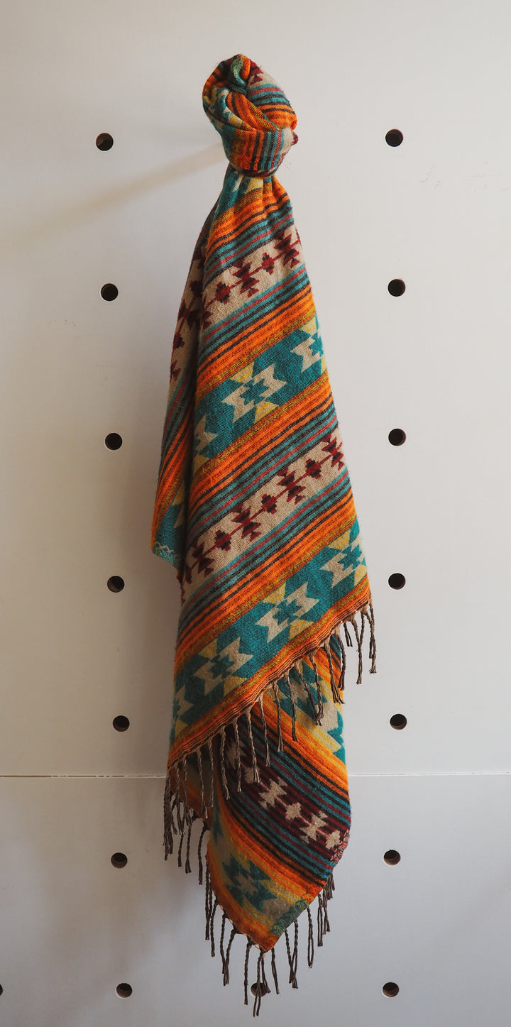 Southwest Blanket Shawls - Orange & Teal Blue mexican native american western wild west southwestern scarf