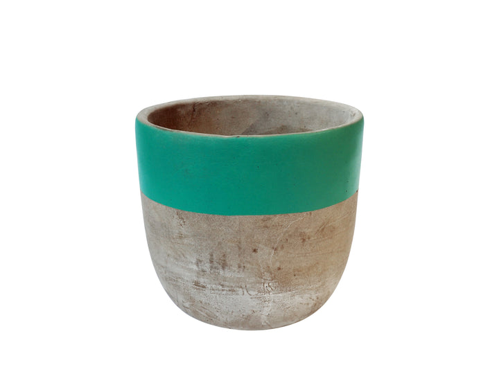 Concrete Plant Pot Medium- Turquoise
