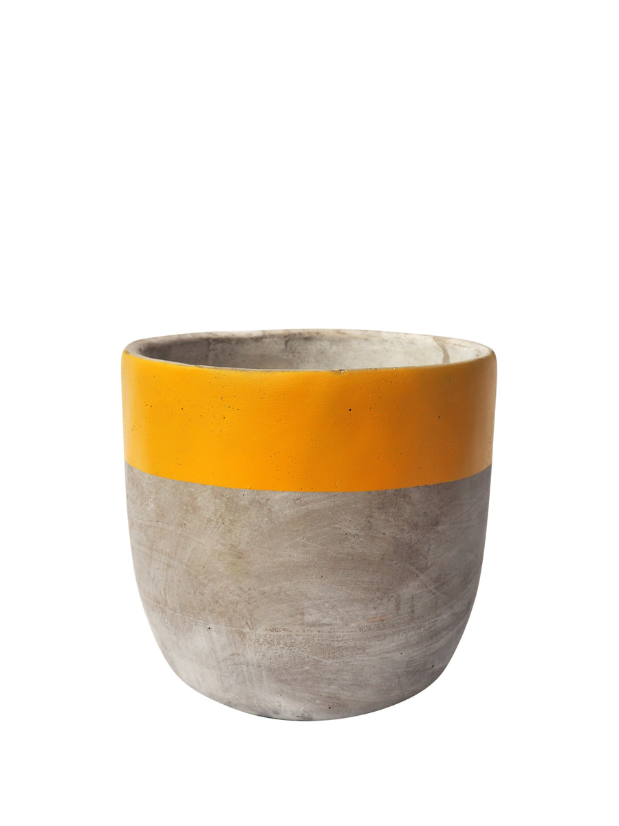 Concrete Plant Pot Medium- Yellow