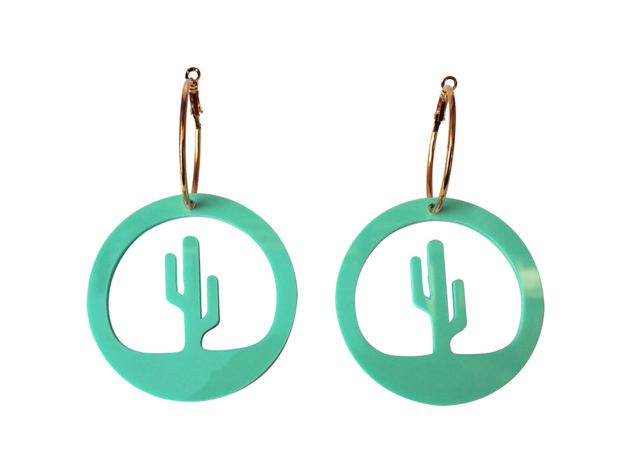 Hi Cacti Hoop Earrings