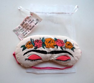 Sleeping Frida Eye Mask, Handmade Sleep Mask, Eye Pillow, Frida Kahlo Gift 'El Sueno de Frida' Feminist Present.