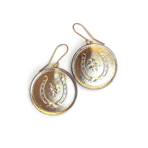Lucky Horseshoe Gold Coin Earrings by Rosita Bonita