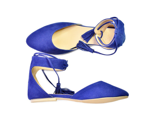 ARIA TASSEL FLATS IN ROYAL BLUE