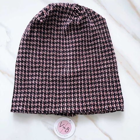 VB Houndstooth Beanie - Pink