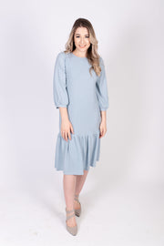 Sparkle Tier Hem Dress- Powder Blue