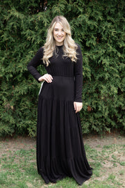 Maxi Tiered Dress *Black w/ contrasting ties*