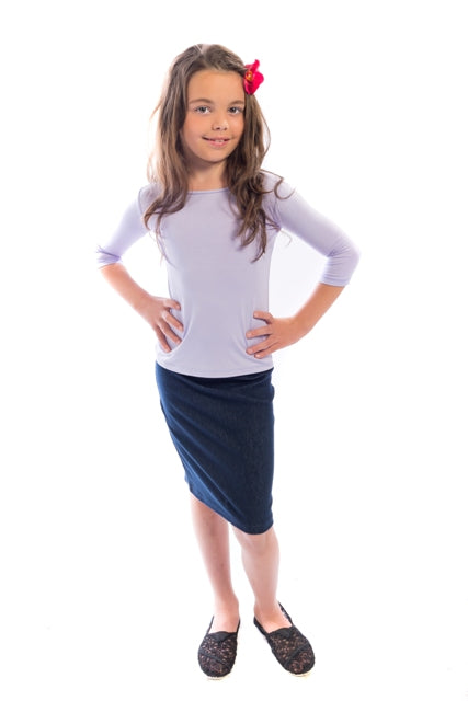 Girls Denim Pencil Skirt
