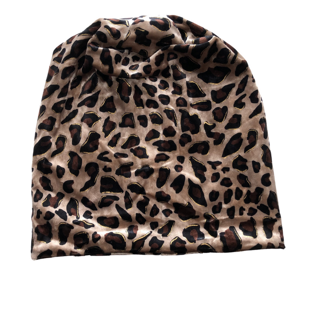 VB Bold Leopard Beanie -Chocolate