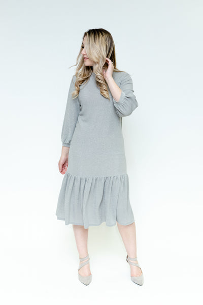 Sparkle Tier Hem Dress - Silver